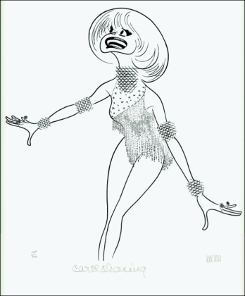 This is the perfect 1970's Hirschfeld drawing. Carol Channing! Can you find the NINA?
