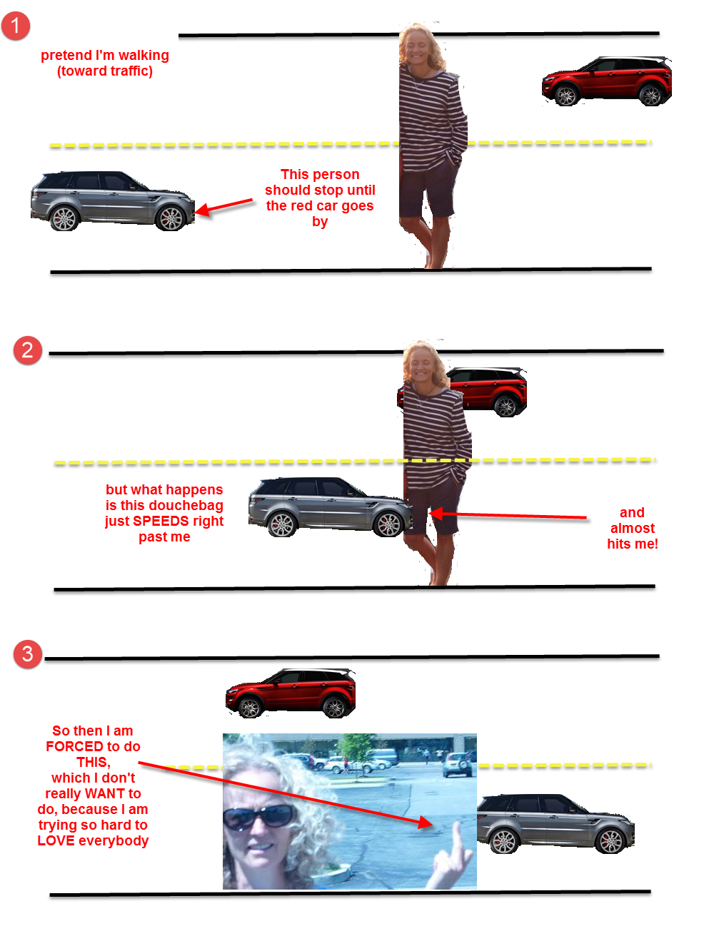 Sorry about the yellow line going over my body in Step 2. I was reliving the act of ALMOST DYING.